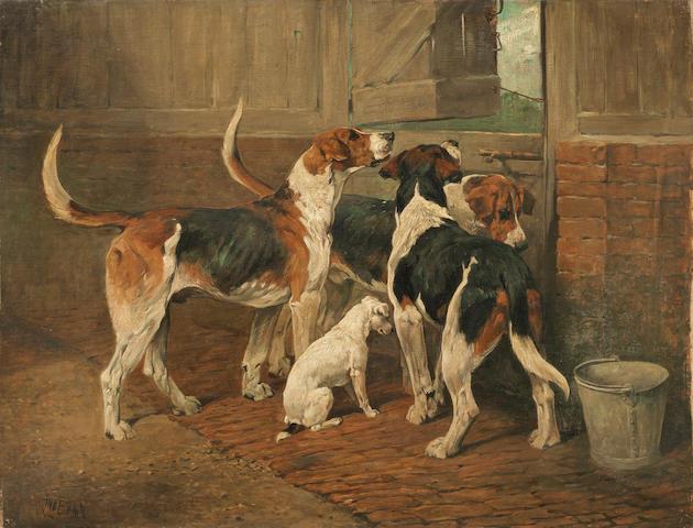 John Emms (British, 1843-1912) Waiting for master 28 x 36in. (71 x 91.5cm.) unframed