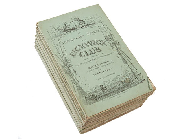 DICKENS, CHARLES. 1812-1870. The Posthumous Papers of the Pickwick Club.  London: Chapman and Hall, April 1836-November 1837.
