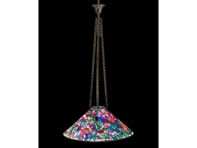 A Tiffany Studios Favrile glass and patinated bronze Floral Bouquet chandelier 1899-1918