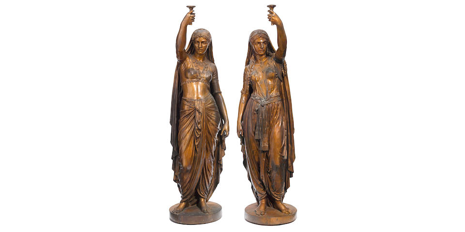 A magnificent pair of French bronze figural torchères: Deux Femmes, Indienne et Persane after a model by Émile Coriolan Hippolyte Guillemin (French, 1841-1907) F. Barbedienne foundry, Paris circa 1872