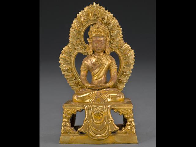 A gilt copper alloy figure of Amitayus 18th century