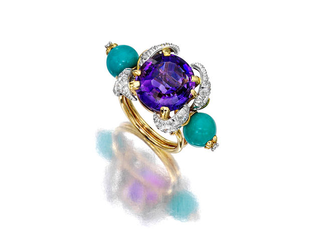 An amethyst, turquoise and diamond ring Jean Schlumberger,