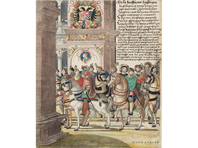 FESTBUCH: Procession Following Charles V's Coronation as Holy Roman Emperor by Pope Clement VII at Bologna in 1530. Gratae et laboribus aequae posteritati Caesareas sanctique patris longo ordine et urmas aspice et artifice mter venerare manum tradere quae potuit rigido mansura metallo nomina magnorum tot generosa virum pictor Hogenbergus quod per tua... [Antwerp?]: Jan Nicolas Hogenberg & Engelbert Bruning, [c.1532].