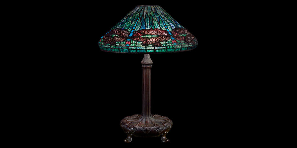 A Tiffany Studios Favrile glass and patinated bronze Dragonfly table lamp  1899-1918
