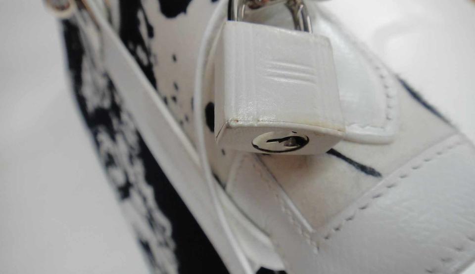 A rare Hermès special order black and white Kelly handbag