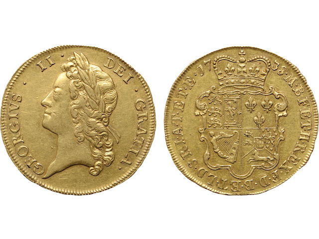England, George II, Gold 5 Guineas, 1738