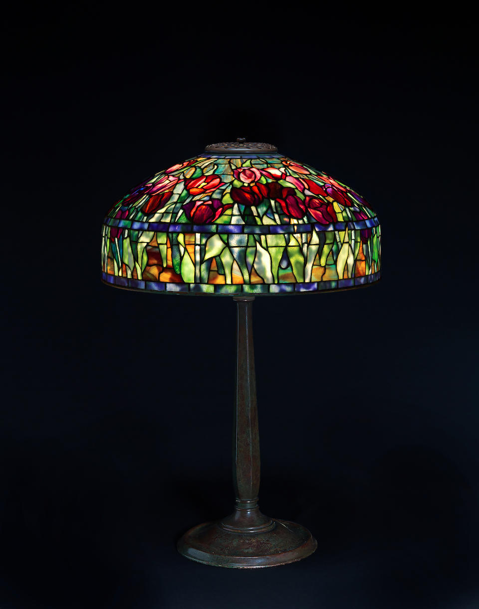 Bonhams A Tiffany Studios Favrile Glass And Patinated Bronze Tulip Table Lamp 1899 1918