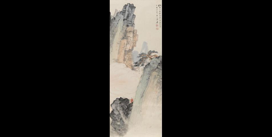 Zhang Daqian (1899-1983) Scholar in Landscape with Lone Pine