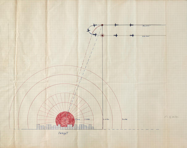 Capt. Robert A. Lewis' Manuscript Bombing Plan for the Dropping of the Atomic Bomb on Hiroshima,  [6 August 1945] 16 x 22 in (405 x 560 mm) 1