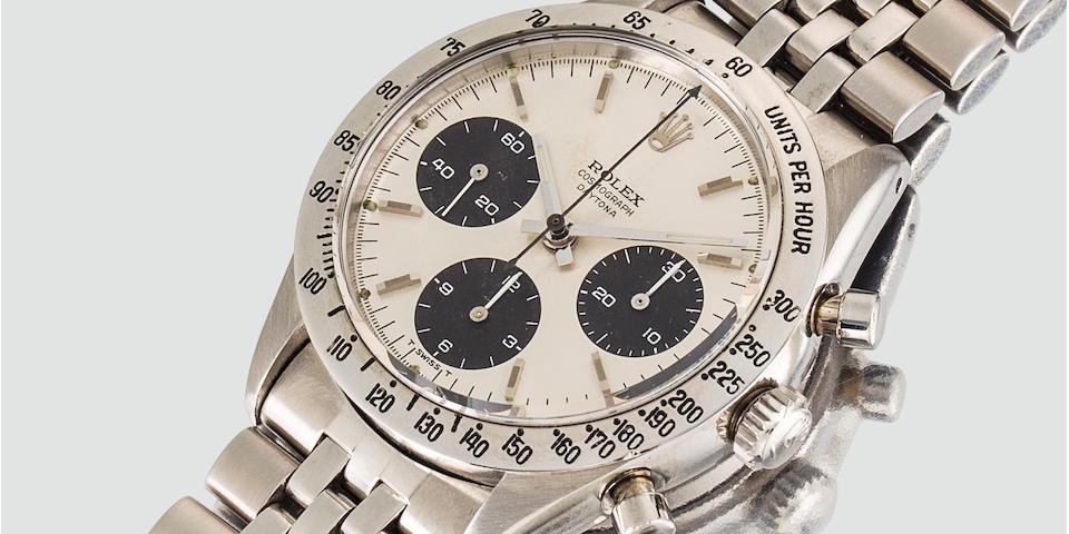 Rolex. A fine stainless steel chronograph wristwatch with braceletCosmograph Daytona, Ref:6239, Case No. 1419125, Circa 1966