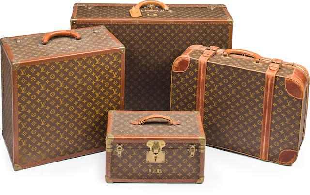 An assembled set of Louis Vuitton monogram luggage