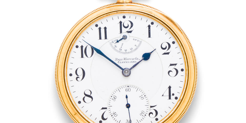 American Waltham Watch Co.No. B235986, Official RR Standard in 14K gold case with winding indicator