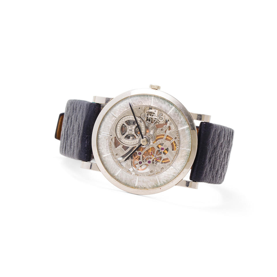 Audemars Piguet. A fine 18K white gold skeletonized wristwatch with original certificate and caseRef:5214BC, Case No. 31185, Movement No. 89617, Manufactured in 1963