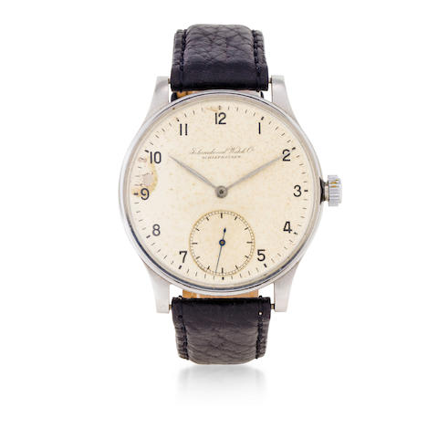 IWC. A rare stainless steel oversized wristwatch Portuguese, Ref:325, Movement No. 955066, Case No. 1107268, Circa 1945