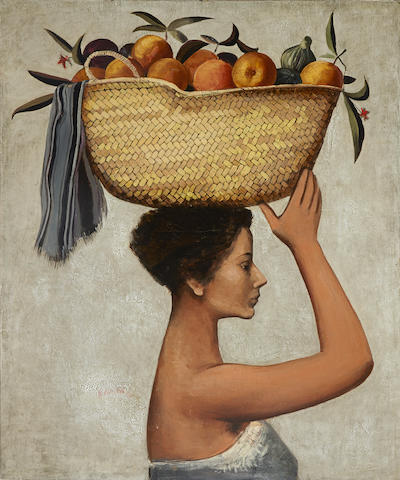 Andres Segovia (Argentinian/Spanish, 1929) Girl carrying a basket of fruit 45 1/4 x 37 1/4in (115.7 x 95.4cm)