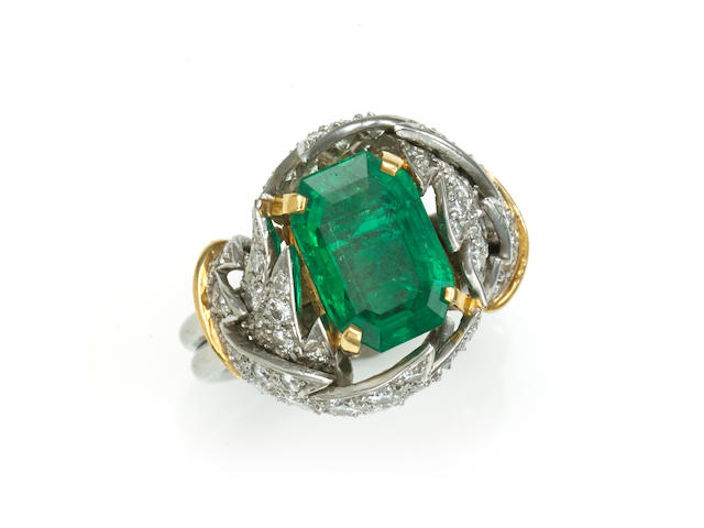 An emerald, diamond and 18k bicolor gold foliate motif ring