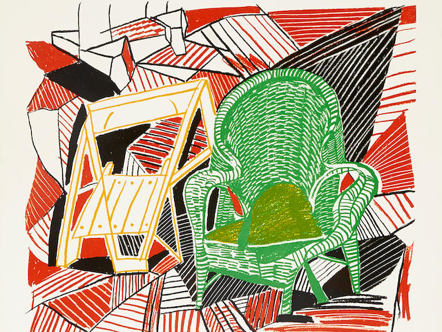 David Hockney (British, born 1937); Two Pembroke Studio Chairs, from Moving Focus;