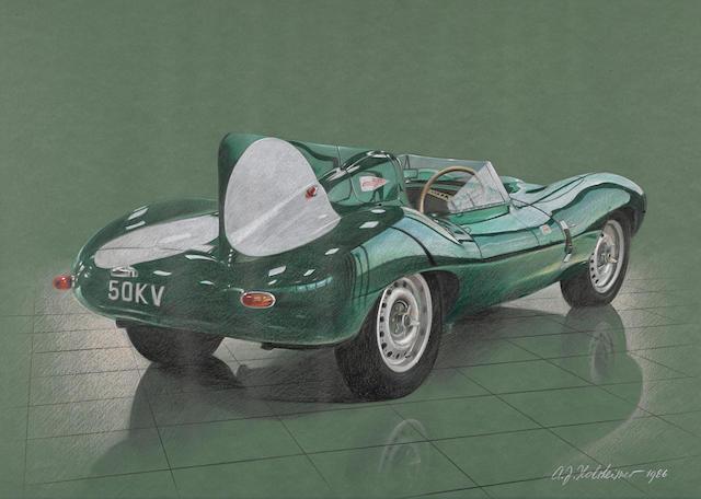 A.J. Holsheimer: Jaguar D-Type, 1986, 28 x 20¼ ins.