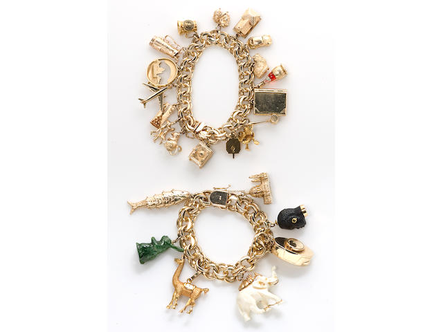 Two 14k gold charm bracelets suspending twenty-four enamel, hardstone, glass, resin and various karat gold charms