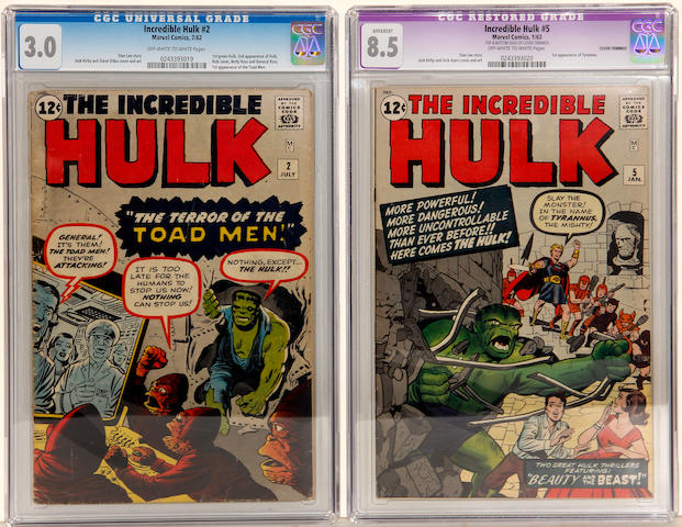 INCREDIBLE HULK #'s 2 & 5 (CGC 3.0 & [8.5 Apparent])