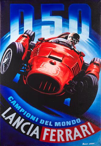 Robert Carter: Lancia D50, 36 x 53 ins.