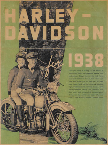 An original Harley-Davidson advertising poster from 1938, Visual image 10¾ x 14½ ins., overall 20 x 14 ins.