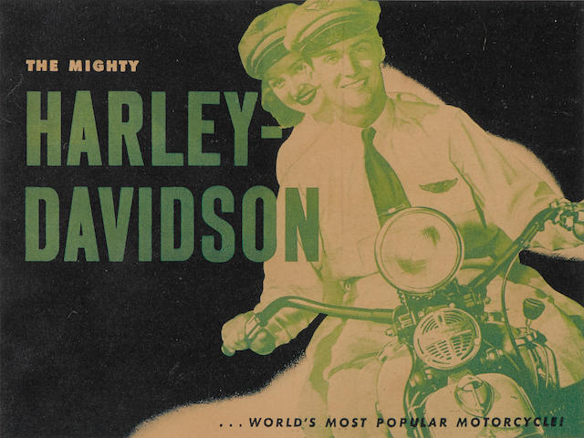 An original Harley-Davidson advertising poster from 1952, Visual image 14¼ x 11 ins., overall 20½ x 16¼ ins.