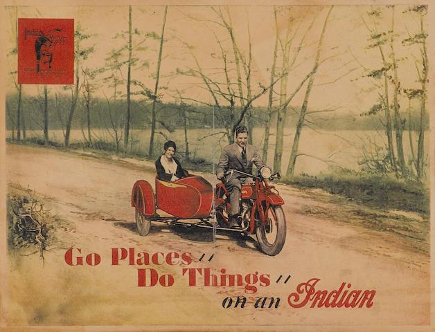 An original Indian Motorcycle advertising poster,
