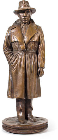 A German patinated bronze figure of Humphrey Bogart cast by the Otto Strehle foundry, second half 20th century