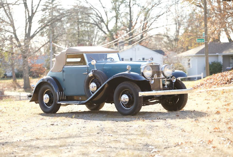 <i>The ex-Dr. Frederick A. Simeone, William Ruger Sr.</i><br /><b>1932 STUTZ DV-32 SUPER BEARCAT  </b><br />Chassis no. DV-SB-1486 <br />Engine no. DV33194
