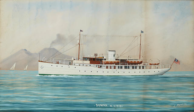 Luca Papaluca (Italian, 1890-1934) The American steam yacht Sumar of the New York Yacht Club 16 x 26 in. (40.6 x 66 cm.) [not examined out of the frame]