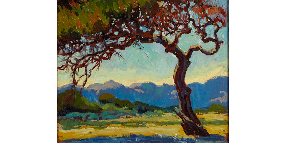 Jessie Arms Botke (American, 1883-1971) Monterey pines and coastal hills 10 x 12in