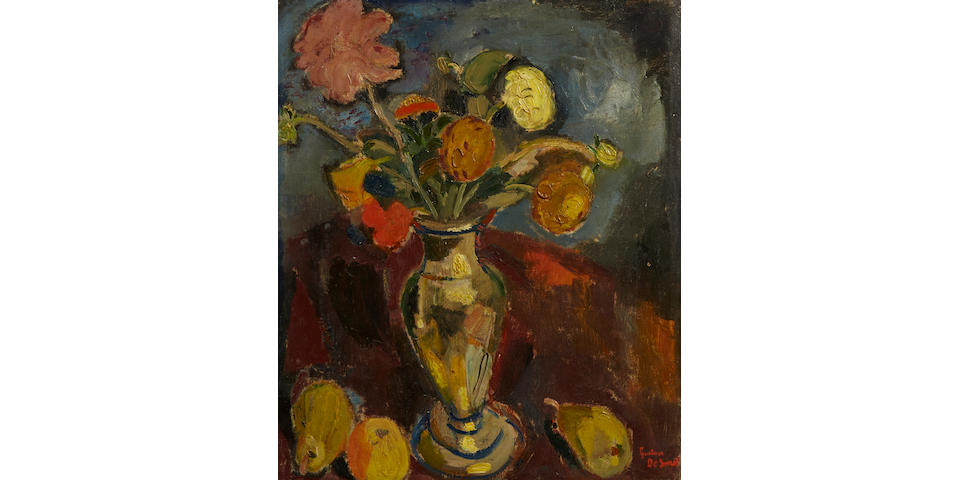 Gustave de Smet (Belgian, 1877-1943) Vaas met bloemen en vruchten (Vase with flowers and fruits), 1917 23 x 19 1/8in.