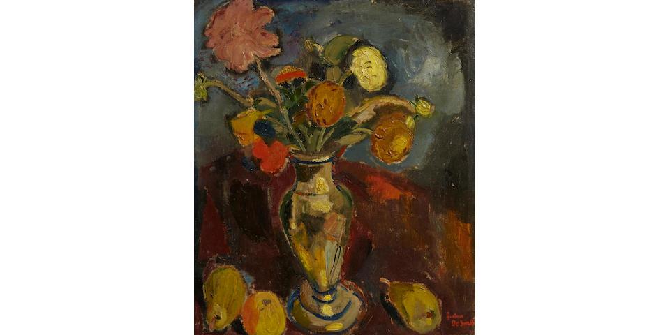 Gustave de Smet (Belgian, 1877-1943) Vaas met bloemen en vruchten (Vase with flowers and fruits), 1917 23 x 19 1/8in.