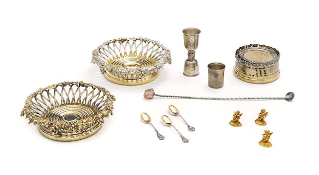 An assembled International group of  sterling silver and silver-mounted  cocktail accessories and tableware by various makers,  20th century