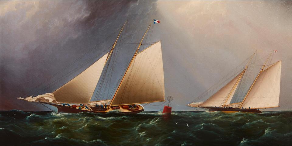 James Edward Buttersworth (British/American, 1817-1894) Cornelia and Magic rounding buoy 8-1/2 22-1/4 x 34-1/8 in. (56.5 x 86.6 cm.)