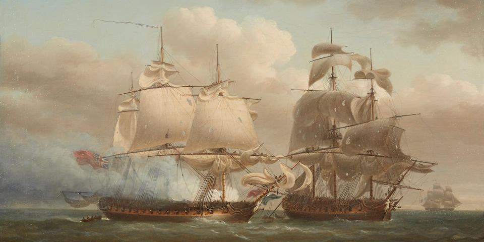 Nicholas Pocock (British, 1740-1821) The battle between the British and French frigates 22-1/4 x 32-1/2 in. (56.5 x 82.5 cm.)