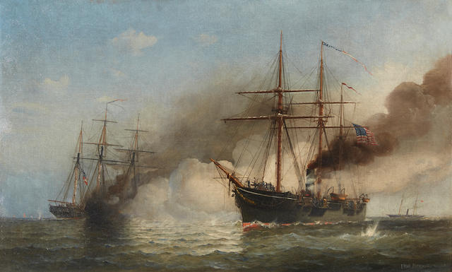 Fred Pansing (American, 1844-1912) Kearsarge, June 19th 1864 22 x 36 in. (55.8 x 91.4 cm.)
