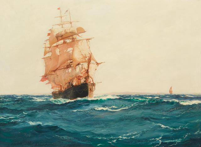 Montague Dawson (British, 1890-1973) Up Channel - The Red Jacket 22 x 30 in. (55.8 x 76.2 cm.)