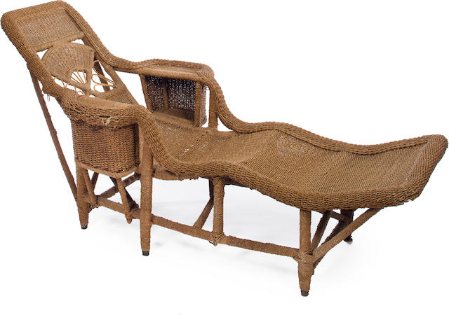 Bonhams : A Victorian wicker chaise longue mid-19th century on victorian candles, victorian mother's day, victorian rocking chair, victorian chest, victorian wheelchair, victorian couch, victorian club chair, victorian loveseat, victorian recliner, victorian credenza, victorian nursing chair, victorian chaise lounge, victorian chaise furniture, victorian sideboard, victorian urns, victorian folding chair, victorian era chaise, victorian office chair, victorian country, victorian tables,