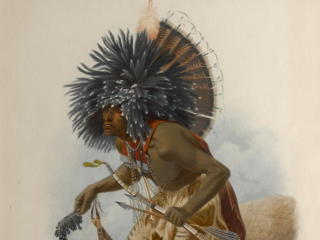 BODMER, KARL. 1809-1893. Pehriska-Ruhpa, Moennitarri Warrior in the Costume of the Dog Danse / Moennitarre Krieger im Auzuge des Hundetanzes / Guerrier Moennitarri costume pour la Danse du Chien. London, Coblenz & Paris: Ackermann, Hoelscher, Arthus Bertrand, 1841.