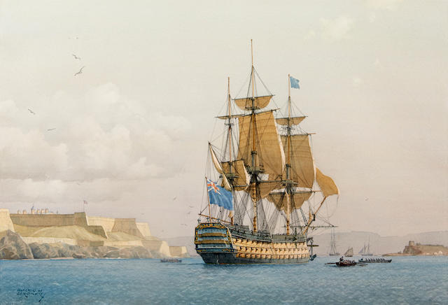 Derek George Montague Gardner (British, 1914-2007) The H.M.S. Royal Sovereign off of Fort Manoel, Valletta, Malta 13-1/2 x 20 in. (34.2 x 50.8 cm.), sight. [not examined out of the frame]