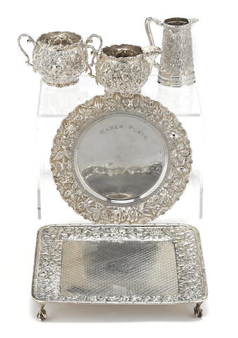 Four American sterling silver allover foliate-chased table articles by various makers,  Baltimore, MD, fourth quarter 19th century and later