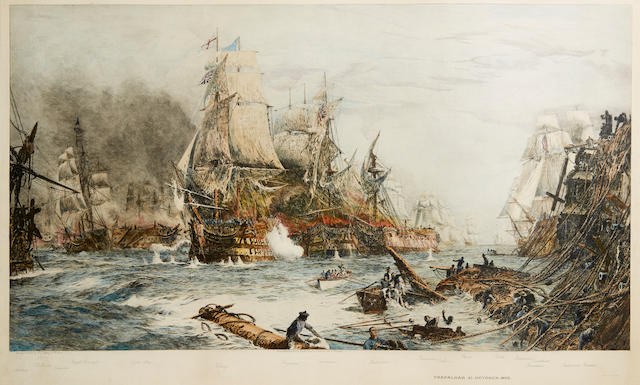 A pair of prints relating to the Battle of Trafalgar and another naval action (2)