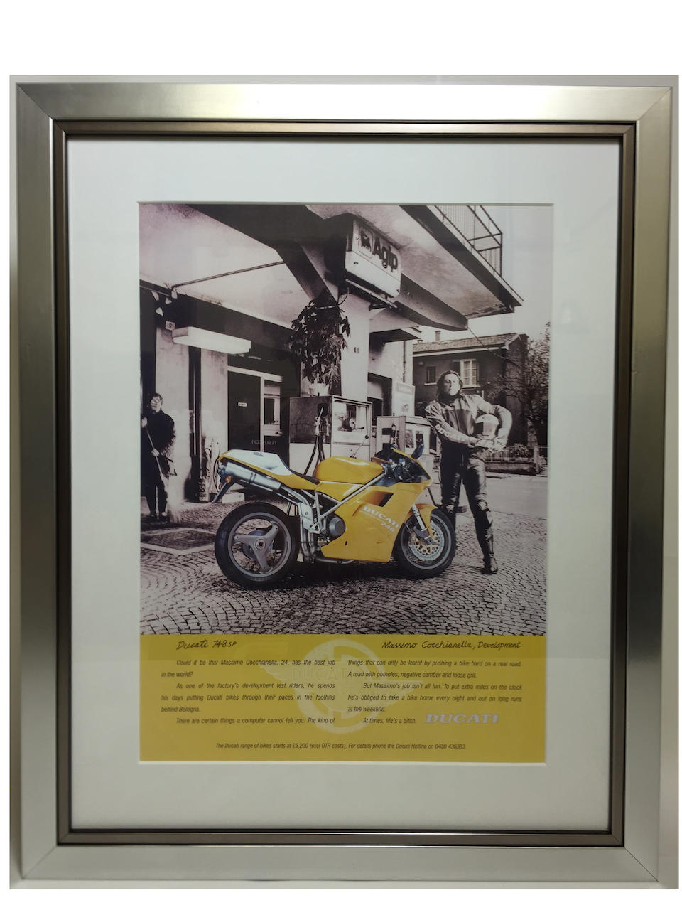 A lot of five Ducati advertising prints and one limited edition poster,