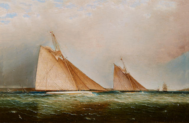 James Edward Buttersworth (British/American, 1817-1894) Cutters leading the fleet through the sound, N.Y. 8 x 12 in. (20.3 x 30.4 cm.)