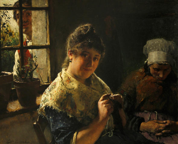 Evariste Carpentier (Belgian, 1845-1922) The suitor 17 3/4 x 21 1/2in