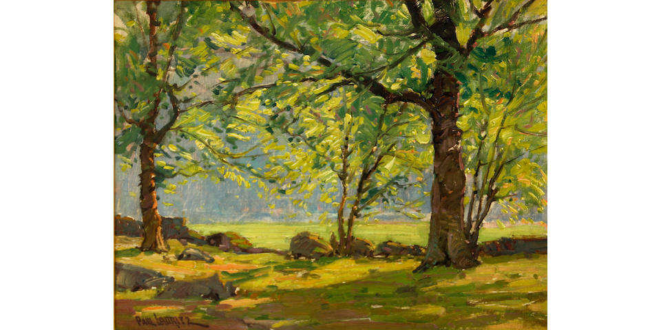 Paul Lauritz (Norwegian/American, 1889-1975) Scattered light through the trees 13 x 17in