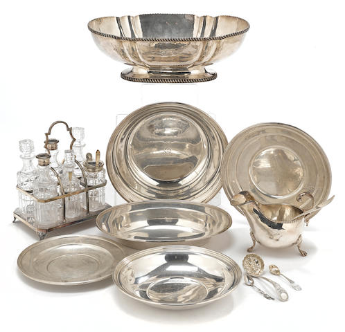 A assembled group of American sterling silver hollowware and International silverplate by various makers, 19th - 20th century