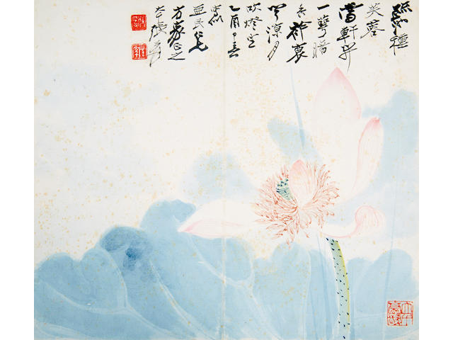 Various Artists, including Zhang Daqian, Guan Shanyue, and Huang Junbi Nine album leaves of Landscapes, Figures, and Flowers,
